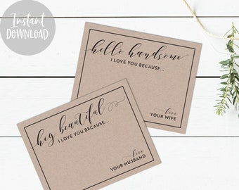 INSTANT DOWNLOAD Hey Beautiful, Hello Handsome - Everyday Husband & Wife Cards - I Love You Because - Marriage Printables