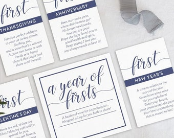 INSTANT DOWNLOAD A Year of Firsts Milestone Wine Basket - Classic Navy Cursive Tags for 6 Bottle Basket - Wedding Gift, Bridal Shower Gift