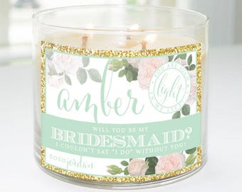 Will You Be My Bridesmaid? Custom Candle Label (Mint & Gold) - Bridesmaid Proposal, Maid of Honor, Matron of Honor