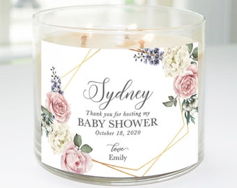 Thank You for Hosting My Baby Shower Custom Candle Label (Geometric Roses) - Thoughtful Hostess Gift
