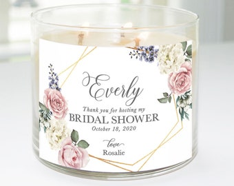 Thank You for Hosting My Bridal Shower Custom Candle Label (Geometric Roses) - Hostess Gift