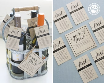 INSTANT DOWNLOAD A Year of Firsts Milestone Wine Basket - Classic Black Cursive Tags for 6 Bottle Basket - Wedding Gift, Bridal Shower Gift