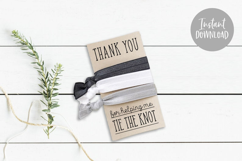 graphic about Printable Knot Tying Cards identified as Immediate Obtain Thank Oneself For Encouraging Me Tie the Knot Printable Playing cards for Hair Tie Reward