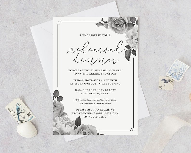 DIY Rehearsal Invites Printable Rehearsal Dinner Invitation Vintage Roses - Easy Includes Personalization by Designer Cheap