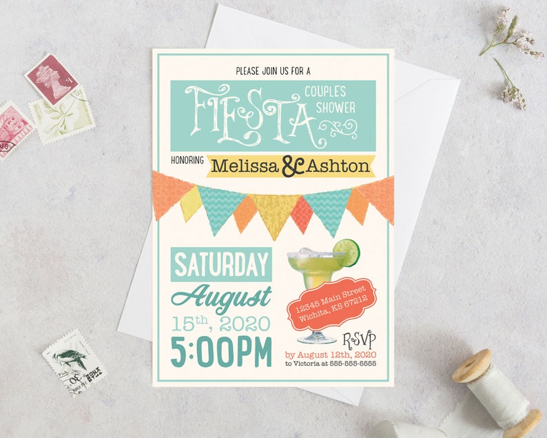 Margarita Fiesta DIY Wedding Shower Invites - Easy Printable Couple/'s Shower Invitation Cheap Includes Personalization by Designer
