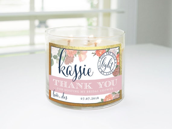 678715662d3 Thank You for Hosting My Bridal Shower Custom Candle Label