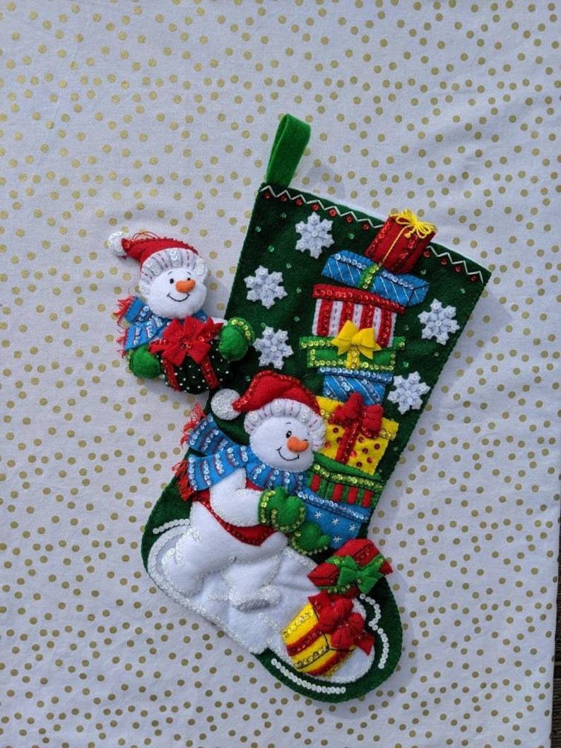 Snowman Felt Christmas Stocking 18 Bucilla Kit Handmade And Ready To Ship