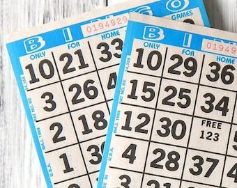 Bingo Cards. Vintage Bingo Cards. Paper Bingo Cards. Journal Ephemera. Junk Journal. Vintage Journal. Scrapbook Supply. Vintage Game Cards.