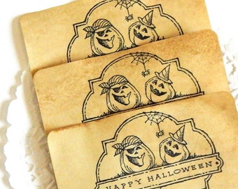 Halloween Cards. Journal Supply. Junk Journal Paper. Embellishment. Coffee Stained Tags. Vintage Paper. Halloween Tags. Vintage Ephemera.