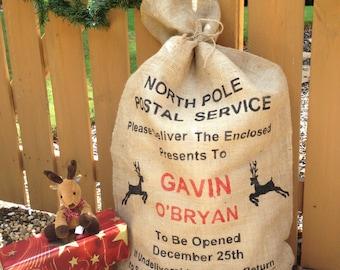 Christmas Santa bag, burlap sack, Stocking, North Pole Postal Service Reindeer Personalized
