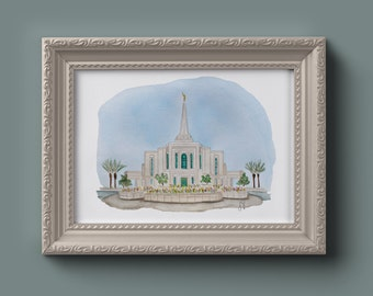 Gilbert LDS Temple Watercolor Print