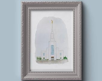 Idaho Falls LDS Temple Watercolor Print