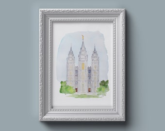Salt Lake City LDS Temple Watercolor Print