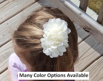 "Pair Wedding Flower Girls School Small 2"" Girls Purple Hair Bow Clips Pearl Bead"