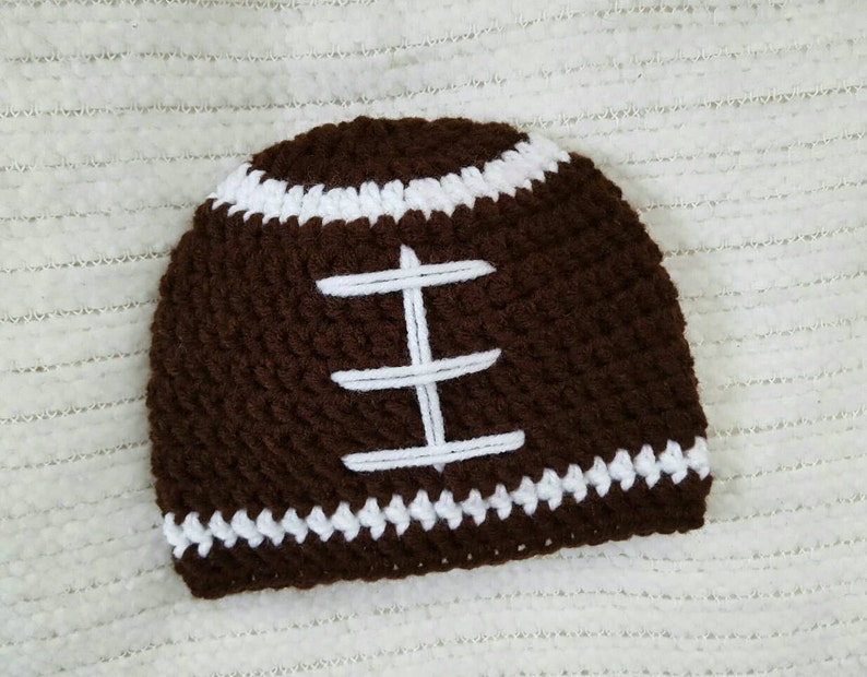 Crochet baby hat, crochet baby beanie, baby football hat, baby boy gifts,  crochet football hat, newborn photo prop, 0-3 month size, boy hats