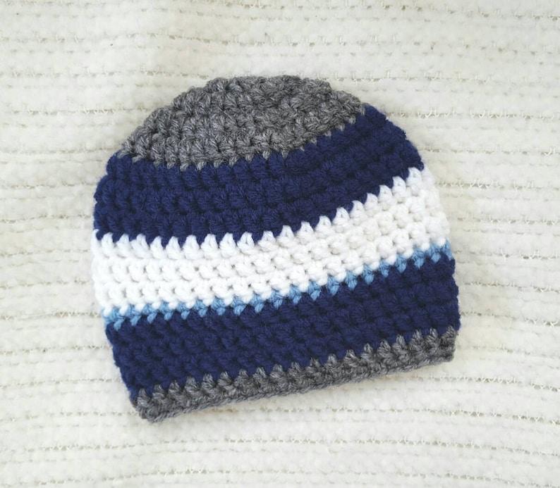 newborn photo prop gray light blue navy blue striped baby hat Crochet baby hat baby boy beanie baby boy gift baby hats for boys