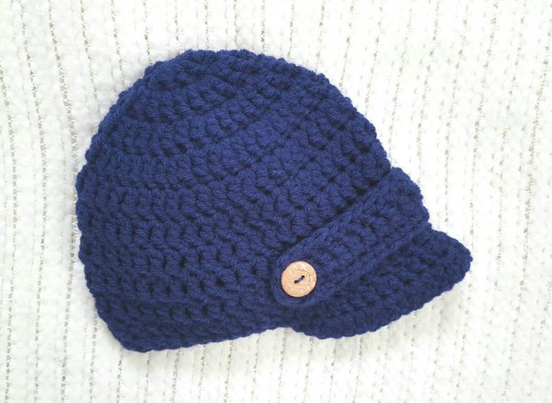 Crochet baby hat, baby boy hat, crochet newsboy hat, baby shower gift, baby  boy gift, newborn photo prop, baby hats for boys, navy
