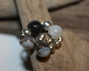Ring, Sterling Ring, Agate Stones Ring, Wire Wrap Ring
