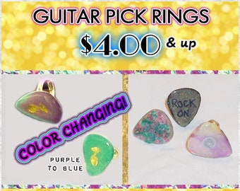 4 different Guitar Pick Rings -  PICK Yours!