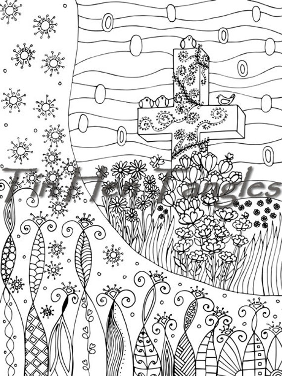 Cross With Flowers Coloring Page Easter Picture Destress