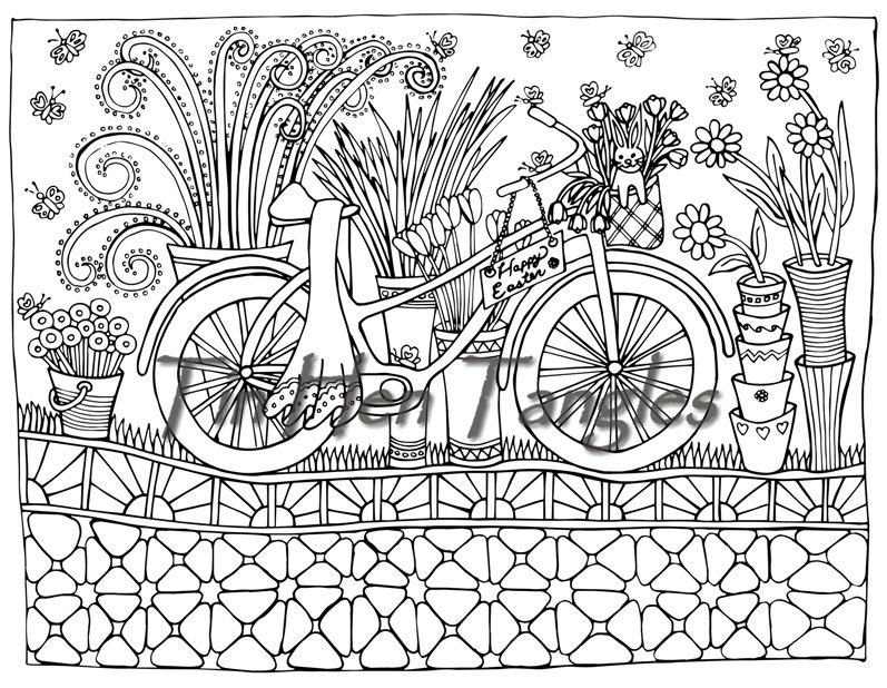 Easter Bicycle Coloring Page Art Therapy Color