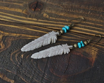 Feather Earrings Carved from Shed Antler, Grey Tone *Made to Order* Hand Made in the U.S.A.