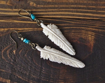 Feather Earrings Carved from Shed Antler, White Tone *Made to Order* Hand Made in the U.S.A.