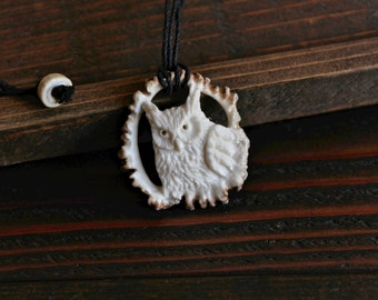 Owl Pendant (Great Horned Owl) - Carved from Antler - Hemp String Necklace with Antler Bead Fasting