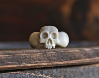 Skull Ring - Hand-Crafted from Antler