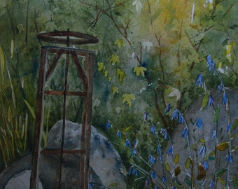 Original plein air landscape painting framed watercolor painting original fine art plein air painting forest wildflowers water Colorado art