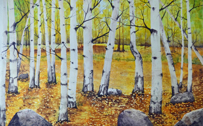 Original art fall watercolor aspen tree painting watercolor | Etsy
