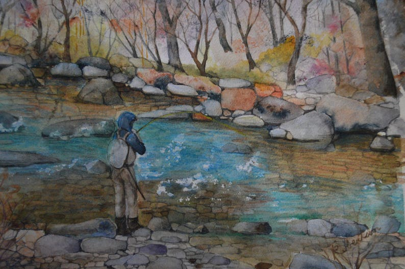 Watercolor painting original  Blue River fly fishing, original landscape   Ready to ship