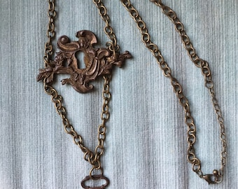 Steampunk Keyplate and Key Necklace