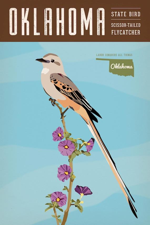 Vintage Oklahoma Series Poster 1 Scissor Tailed Flycatcher Etsy