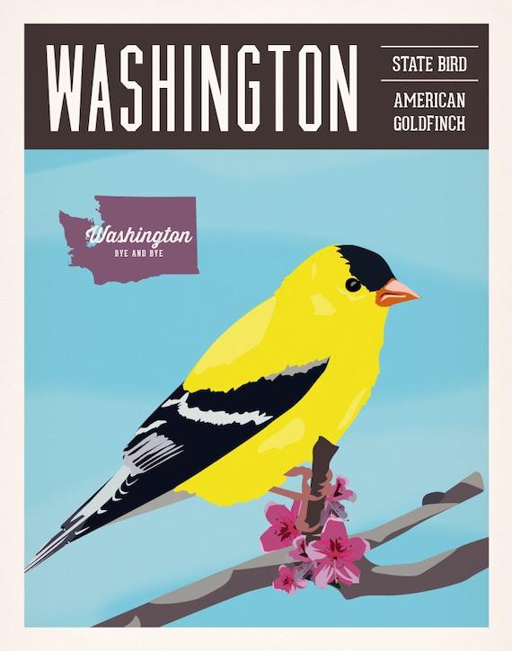 Vintage Washington Series Poster 1 American Goldfinch Wa Etsy