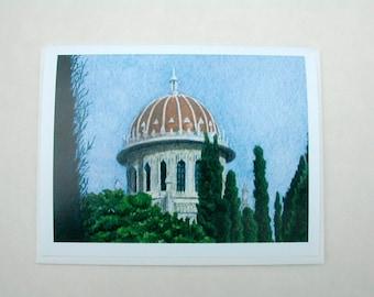 Bahai Card -- Shrine with trees 001