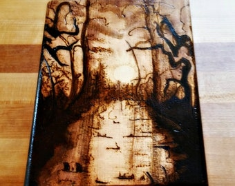 Small Natural Color Custom Magic: The Gathering Wood- Burned Deck Box
