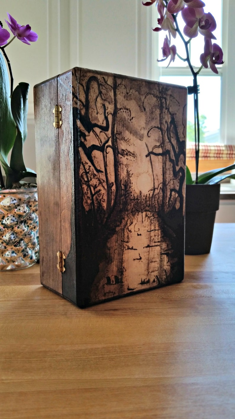Wood Burned Magic the Gathering Deck Box Mono-color Swamp Example