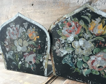 Wonderful Shabby Tole Bookends