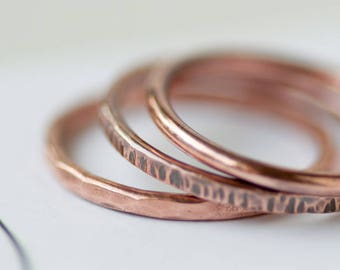 Solid Copper Stacking Ring Hammered Spacer Ring Set