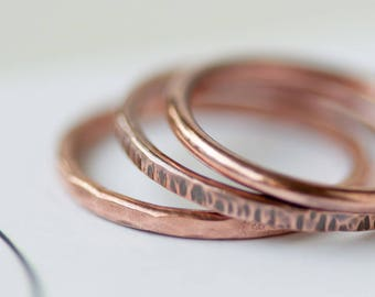 Solid Copper Stacking Ring Hammered Spacer Ring Choose 2 Piece 3 Piece 5 Piece Set
