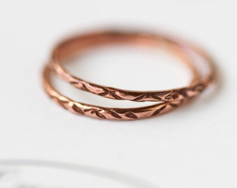 Boho Copper Stacking Ring Thin Bohemian Stacking Ring 1pc 2pc 3pc Set