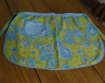 Vintage blue and yellow floral adult's half apron