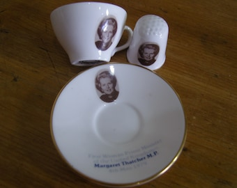 Caverswall Margaret Thatcher Thimble and Miniature Cup and Saucer