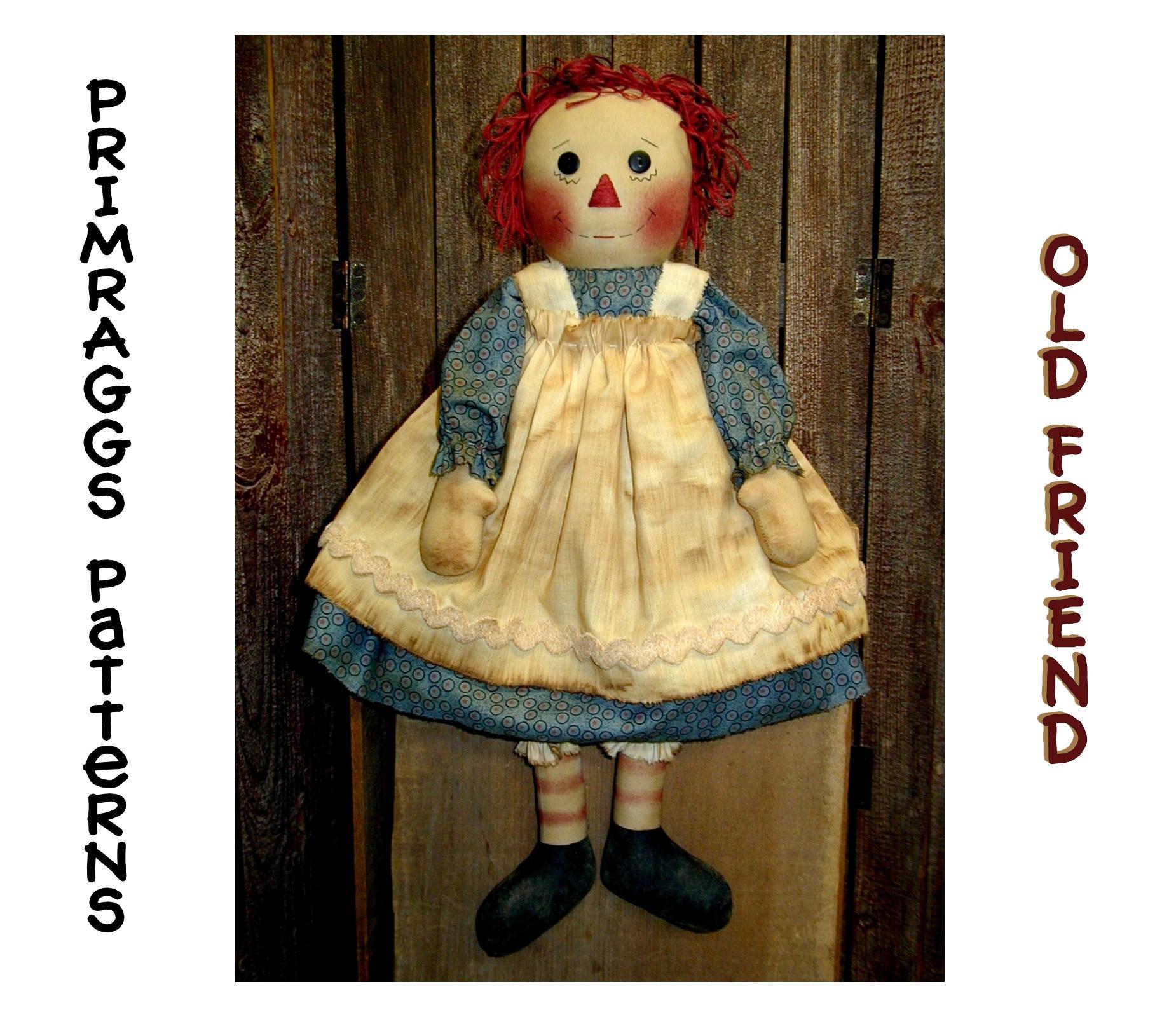 Primitive Raggedy Ann PATTERN Old Friend Cloth Rag Doll