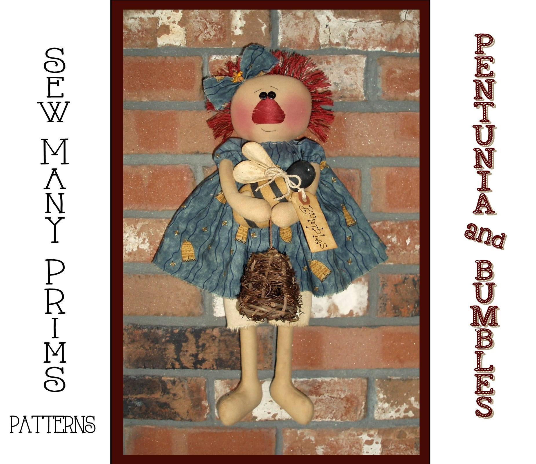 Raggedy Ann PATTERN Petunia & Bumbles Rag Doll Holding