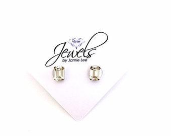 0bb0df18d836 Clear Emerald Cut Dainty Swarovski Crystal Stud Earrings