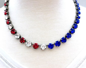 35e364692 USA BLING • Swarovski Crystal Necklace • Austrian Crystal • Red, White,&  Blue, Clear-America