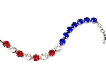 10% Off***Merica • Red, White, & Blue Patriotic Swarovski Crystal Bracelet • USA, America, 4th of July