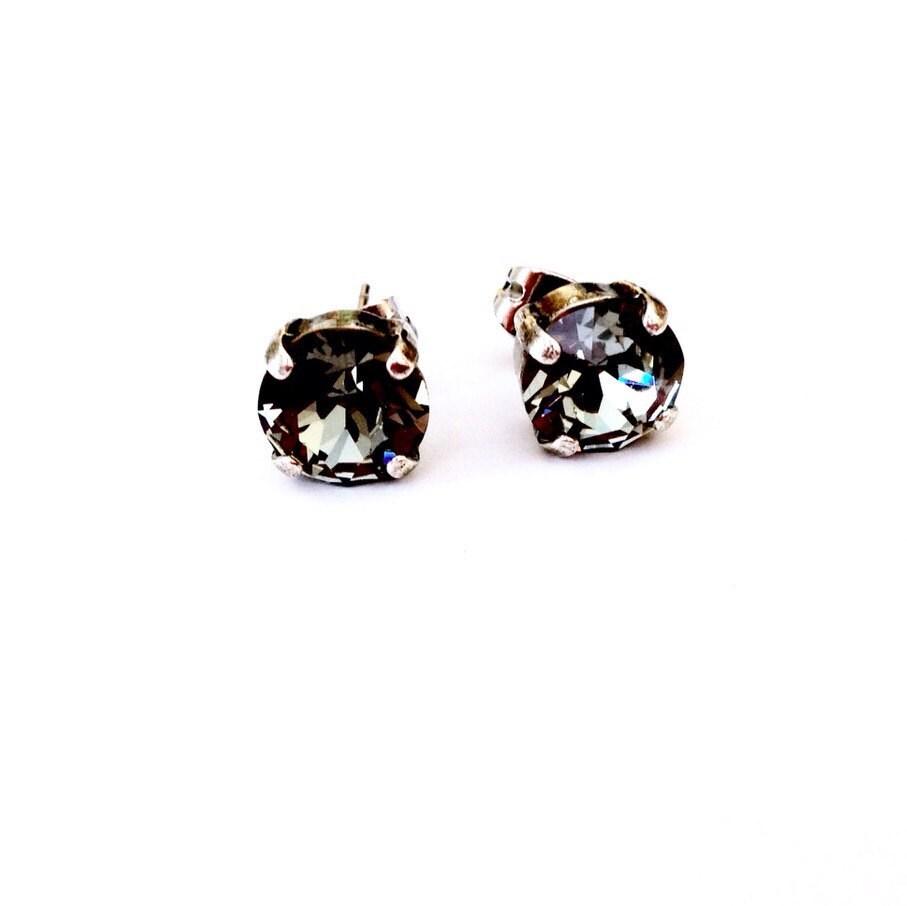 80035339d Black Diamond Swarovski Crystal Stud Earrings   Etsy